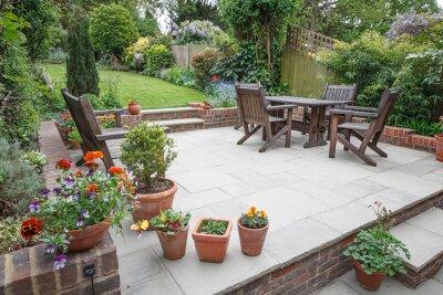 Fototapeta Hard landscaping, new luxury patio and garden, UK
