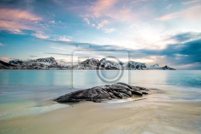 Fototapeta Haukland plaża w Lofoten, Norwegia
