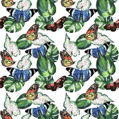 Hawaii Tropical liści drzewa palmowego i motyli wzór w stylu akwarela izolowane.