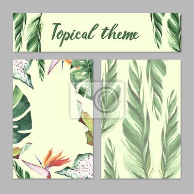 Hawaii Tropical liści palmy motyw w stylu akwarela izolowane.