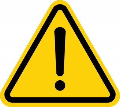 Fototapeta Hazard warning attention sign with exclamation mark symbol
