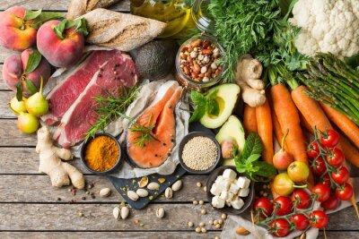 Fototapeta Healthy food for balanced flexitarian mediterranean diet concept