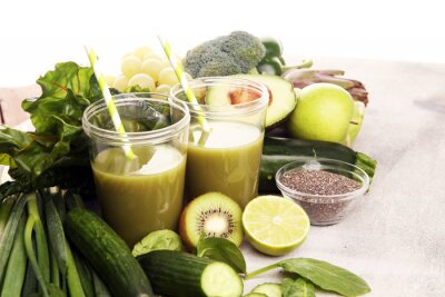 Healthy green smoothie and ingredients - detox and diet for health