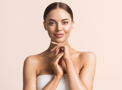 Fototapeta Healthy skin woman natural make up beauty face closeup