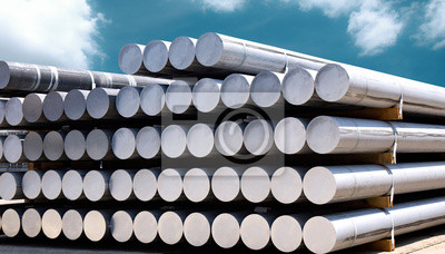 Fototapeta Heap of aluminium bar in aluminium profiles factory