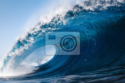 Fototapeta Heavy wave breaking on a beach in Spain