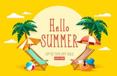 Fototapeta Hello summer! Summer beach vacation holiday theme with big sign.