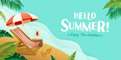 Fototapeta Hello summer holiday beach vacation theme horizontal banner.