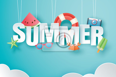 Fototapeta Hello summer with decoration origami hanging on blue sky background. Paper art and craft style. Vector illustration of life ring, ice cream, camera, watermelon, sunglasses.