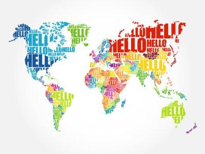 Fototapeta Hello Word Cloud Mapa świata w typografii, tło, Pojęcie