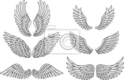Fototapeta Heraldyczne skrzydła ustawione dla projektu tatuażu lub maskotka