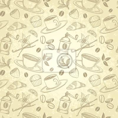 Herbaty i kawy w stylu vintage Tło w stylu handmade