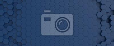 Fototapeta Hexagonal dark blue navy background texture placeholder, 3d illustration, 3d rendering backdrop