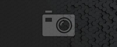 Fototapeta Hexagonal dark grey, black background texture, 3d illustration, 3d rendering