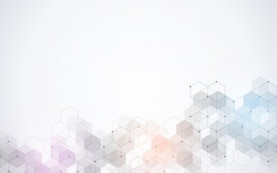 Fototapeta Hexagons pattern. Geometric abstract background with simple hexagonal elements. Medical, technology or science design.
