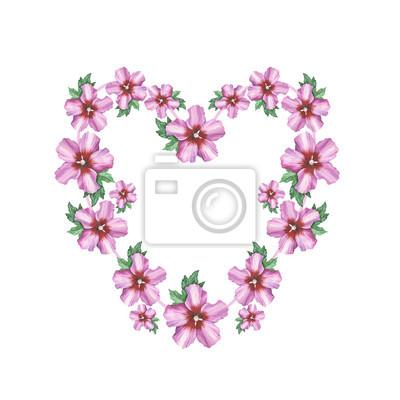 Hibiskus róża kwiat tło wieniec serce ramki w akwareli rysunku. Kwiatowy element projektu tła, plakat, drukuj, romantyczny zaproszenia, dekoracje, podobieństw lub wzoru.