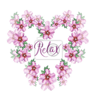 Hibiskus róża kwiat tło wieniec serce ramki w akwareli rysunku. Relax pisma ręcznego. Kwiatowy element projektu romantycznych zaproszeń, dekoracji, podobieństw lub wzoru.