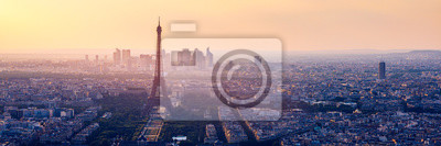 Fototapeta High resolution aerial panorama of Paris, France taken from the Notre Dame Cathedral before the destructive fire of 15.04.2019. The river Seine. Aerial view of Paris at sunset. Paris, France.
