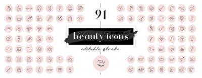 Fototapeta Highlight covers backgrounds. Set of beauty icons.