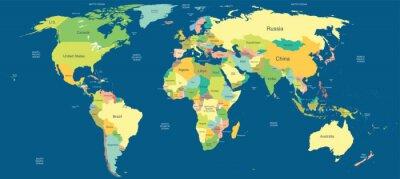 Fototapeta Highly detailed political world map