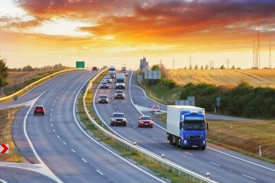 Fototapeta Highway transportation with cars and Truck