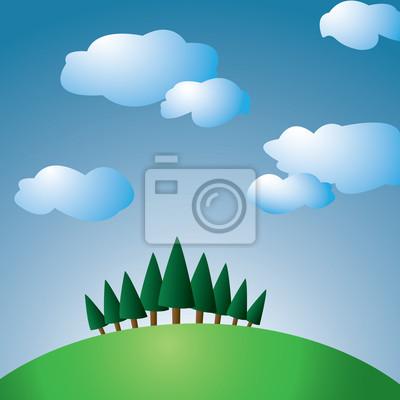 Hill z drzew i niebo z chmurami