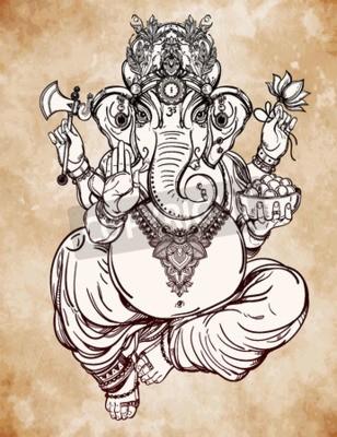 Fototapeta Hinduski Głowa Słonia Boże Lord Ganesha Mecenas Sztuki