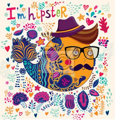 Fototapeta Hipster charakterze ilustracji. Karta sztuka