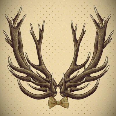 Fototapeta Hipster rocznika tle z poroża jelenia
