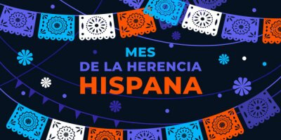 Fototapeta Hispanic heritage month. Vector web banner, poster, card for social media, networks. Greeting in Spanish Mes de la herencia hispana text, Papel Picado pattern, perforated paper on black background.