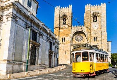 Fototapeta Historic yellow tram of Lisbon, Portugal