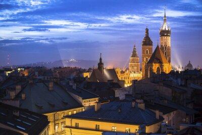 Fototapeta Historyczne centrum Krakowa, w Polsce w nocy.