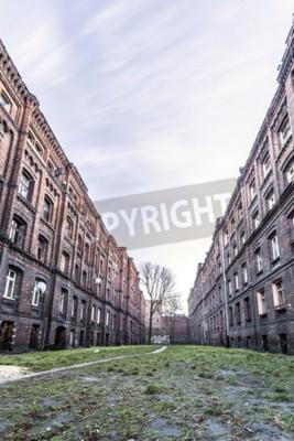 Fototapeta Historyczne, postindustrialne bloki mieszkanie w Łodzi, centralnej Polsce