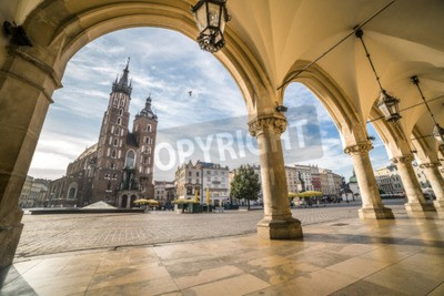 Fototapeta Historyczny Kraków Rynek w godzinach porannych, Polska