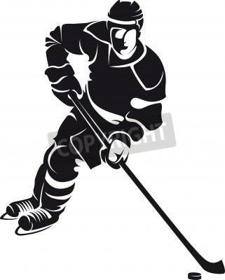 Fototapeta hockey player, silhouette