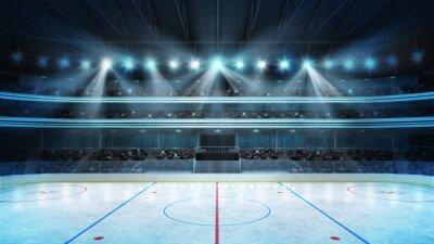 Fototapeta hokej na stadion z fanami tłumu i pustym lodowisko