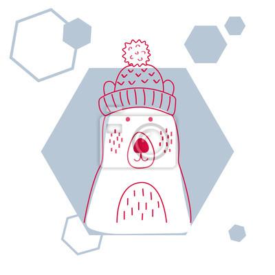 Holiday i Bo? E Narodzenie ilustracj? Cute Niedźwiedź polarny w kapeluszu. Ilustracji wektorowych wyciągnąć rękę na kartkę z życzeniami lub plakat.