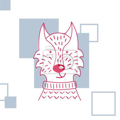 Holiday i Bo? E Narodzenie ilustracj? Cute sweter sweter. Hand wyciągnąć ilustrację zwierząt na kartkę z życzeniami lub plakat ..