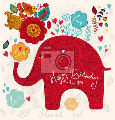 Fototapeta Holiday karty słonia