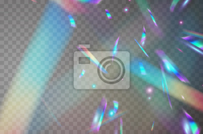 Fototapeta Holographic falling confetti isolated on transparent background. Rainbow iridescent overlay texture. Vector festive foil hologram tinsel with bokeh light effect and glare glitter.