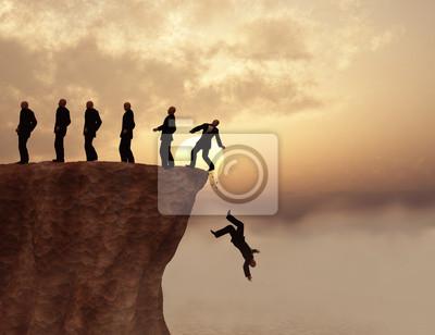 Fototapeta Hombres al borde de un Precipicio