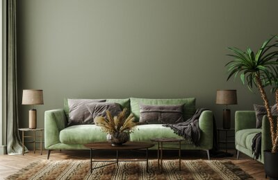 Fototapeta Home interior mock-up with green sofa, table and decor in living room, 3d render
