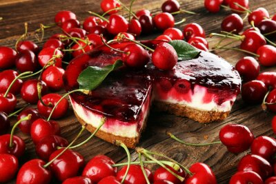 Home made cherry cake with vanilla, cream cheese and a bunch of black cherries