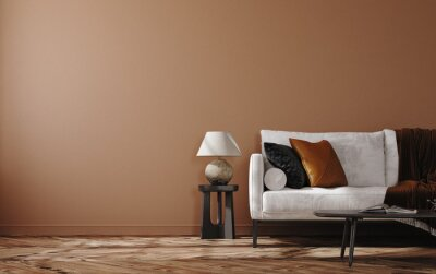 Fototapeta Home mockup, brown warm color living room with  sofa and decoration, 3d render