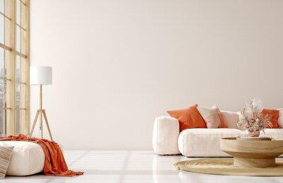 Fototapeta Home mockup in living room interior background,  3d render