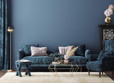 Fototapeta Home mockup, modern interior background, 3d render