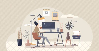 Fototapeta Home workplace and distant office in room as workspace tiny person concept. Isolation and distancing from company and work with remote workstation vector illustration. Freelance job process scene.