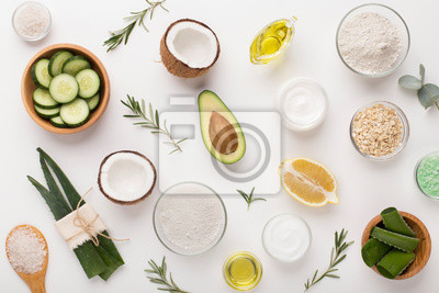 Fototapeta Homemade skin care and body scrub with natural ingredients