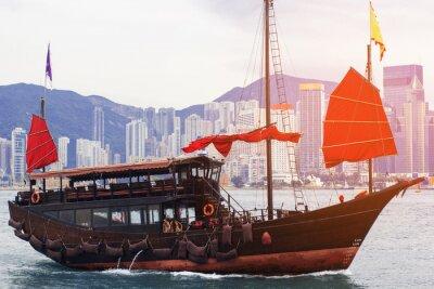 Fototapeta Hong Kong z portu turystycznego, Scarlet śmieci Żagle