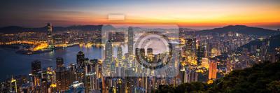 Fototapeta Hongkong wschód słońca panoramiczny widok z punktu widzenia szczyt.
